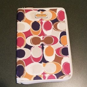 Coach Signature Multi Color ipad/tablet zip case